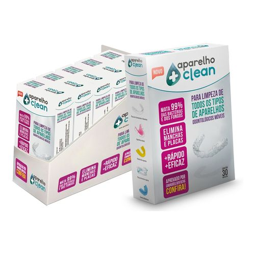 Aparelho+Clean - Pastilhas para Limpeza e Higienização de Aparelhos Móveis Caixa com 30 pastilhas