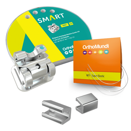Kit-Braquete-Autoligado-Interativo-Smart-MBT---2-NiTi-Redondo---Stop